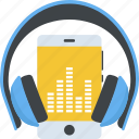 mobile with headphone, multimedia, music enjoyment, music listening, music player icon