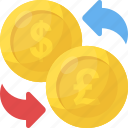automatic recurring payments, currency circulate, macroeconomics, money circulation, money convert icon