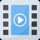 digital file, movie reel, mp4, multimedia, video file icon