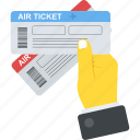 air ticket, air traveling offer, airplane ticket, boarding pass, travel agency icon