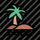 beach, palm, river, tour, tree icon