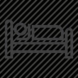 bed, hotel, motel, night, person, sleep, travel icon