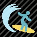beach, sport, surfer, surfing, tourism, travel icon