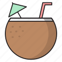 beach, coconut, drink, juice, summer