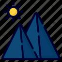 mountain, landscape, nature, sun, cloud, hill, camping