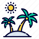 beach, palm, summer, tree, sun, sea, water