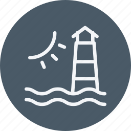 architecture, building, house, light, lighthouse, ocean, weather icon