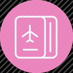 aircraft, airplane, flight, passport, plane, tourism, travel icon