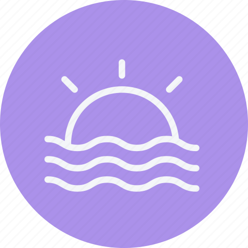beach, forecast, hot, set, summer, sun, weather icon