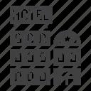apartment, building, hotel, tourism, travel, urban icon