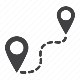 distance, map, navigation, pin, pointer, route, travel icon
