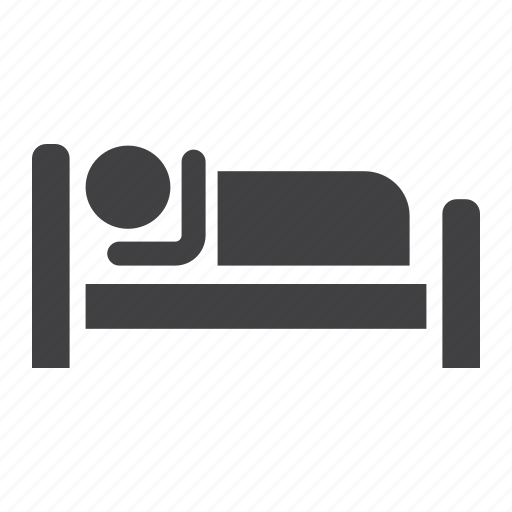 bed, hotel, motel, night, person, sleep, travel icon