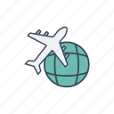 fly, global, globe, plane, tourist, travel icon