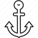 anchor, boat, drop, ship, transportation, travel icon