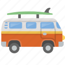 surf, surfing, van, bus, vw, westfalia, hippy