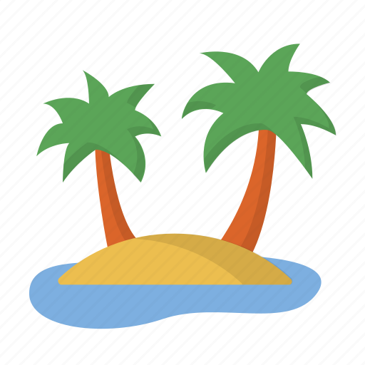 beach, island, nature, palm tree, paradise, tropical, vacation icon