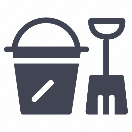 bucket, digging, essentials, sand, shovel, tools, travel icon