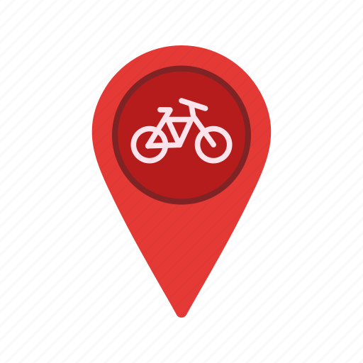 bicycle, cycle, exercise, location, map, pin, travel icon