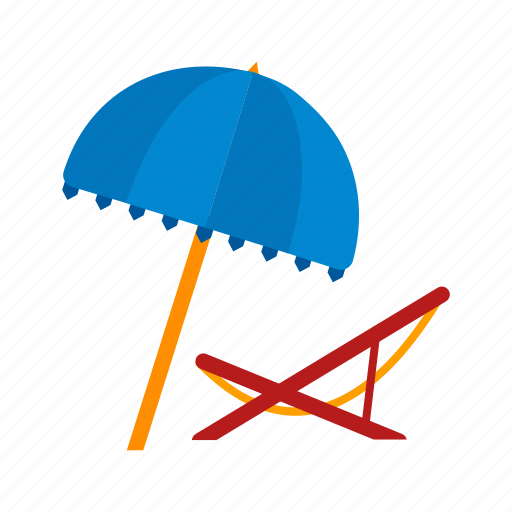 beach, chair, deck, summer, travel, umbrella icon