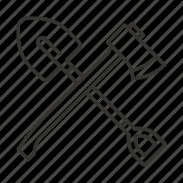 axe, hatchet, shovel, tools, travel, wood icon