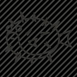animal, bristle, fish, fishing, prickly, sea icon