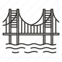 bridge, river, road, travel icon