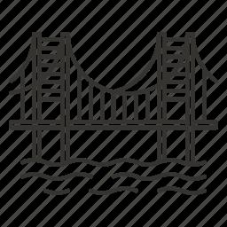 bridge, river, road, travel icon