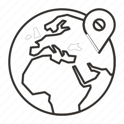 globe, location, map, marker, pin icon