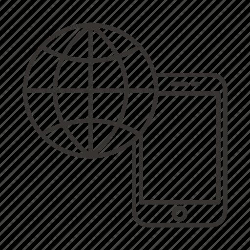 communication, globe, mobile, phone, rouming icon