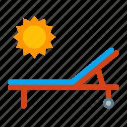 bed, sun, sunbathing, sunny, vacation icon