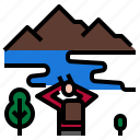 adventure, binoculars, hiking, travel icon