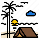 beach, sea, seaside, tentcamp icon