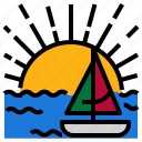 beach, boat, hot, summer, sun icon