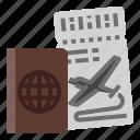 document, journey, passport, ticket, travel icon