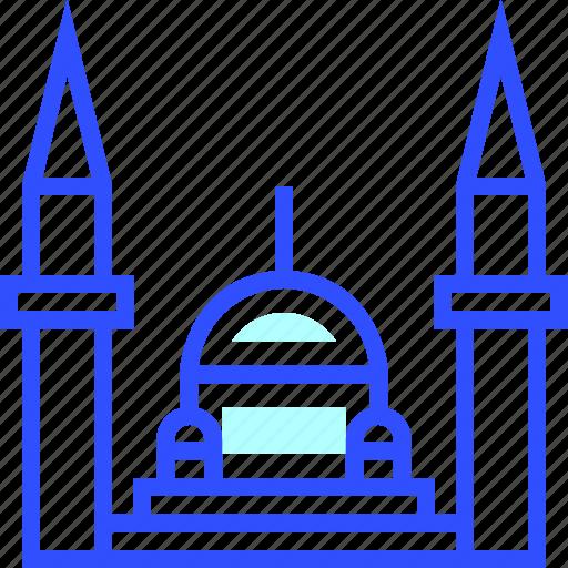 adventure, blue, landmark, leisure, mosque, transportation, travel icon