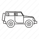 car, jeep, line, outline, transportation, travel, vehicle icon