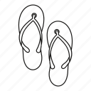 beach, footwear, line, outline, sandal, shoe, summer icon