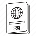 globe, line, outline, pass, passport, tourism, travel icon