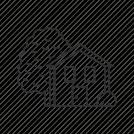 family, garden, home, house, house with garden, shelter, trees icon