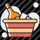 bucket cooler, champagne bucket, wine bottle, wine bucket, wine cooler icon