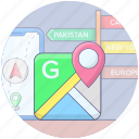 mobile app, mobile location, navigational app, online location, online map, online navigation icon