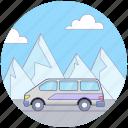 journey, road travel, transport, travelling, van, wagon icon