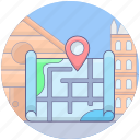guidepost, location map, map location, map pointer, travelling location icon