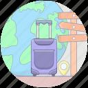 suitcase, travel direction, travel equipments, travel itinerary, travel luggage icon