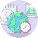 global planning, global trip planner, travel itinerary, travel plan, travel time icon