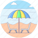 beach, beach table, holiday, outdoor sitting, table and chairs icon