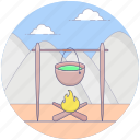 camping food, cauldron, conventional cooking, cooking food, outdoor cooking icon