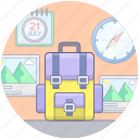 backpack, baggage, traveling equipments, travelling gadgets, travelling luggage icon