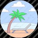 beach, deck chair, seashore, sun tanning, sunbed icon