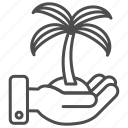 hand, palm, palm tree, travel, tree icon